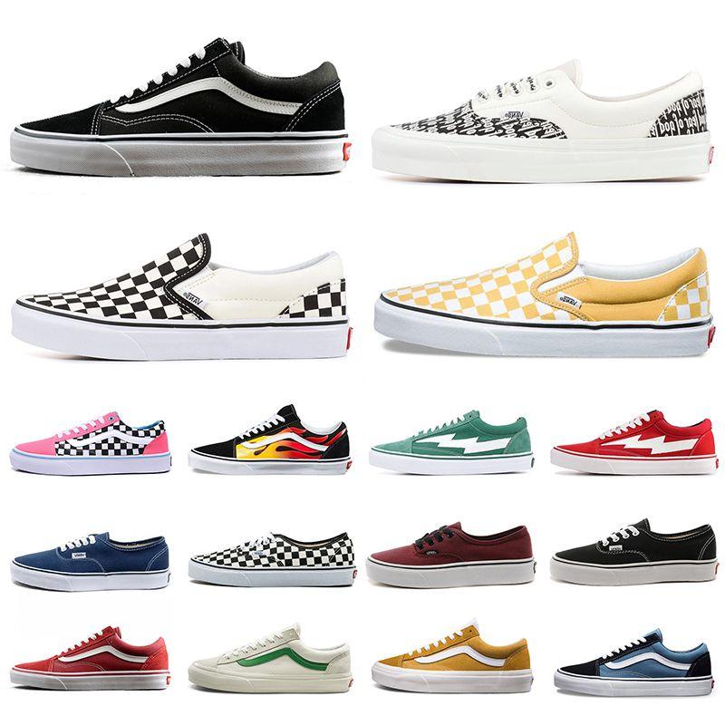 fear of god mens women canvas van sneakers van old skool sk8 skateboard slip-on shoes triple black white flat men casual shoe 36-44