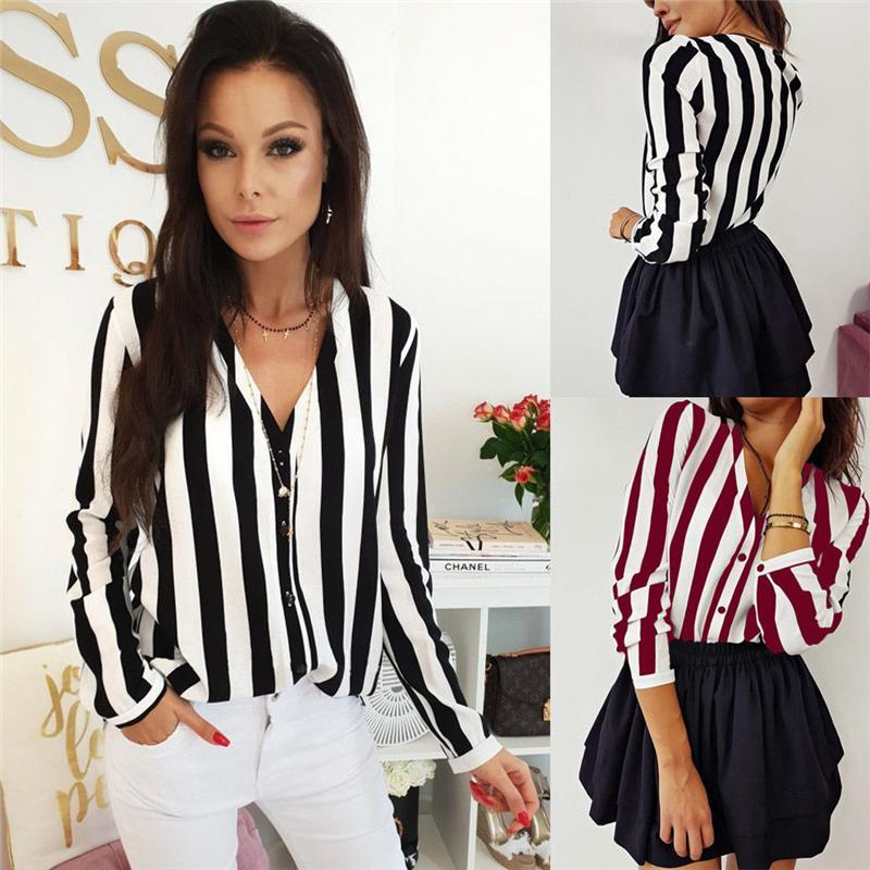 Frauen Sommer Striped Fashion Tops und Blusen Elegante V-Ausschnitt Bluse Lose Harajuku Shirt Damen Tunika vintage camisa feminina