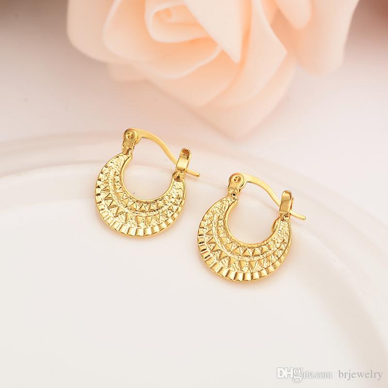 2020 Gold Jewelry 24k Gold Plated Hoop Earrings Women Party
