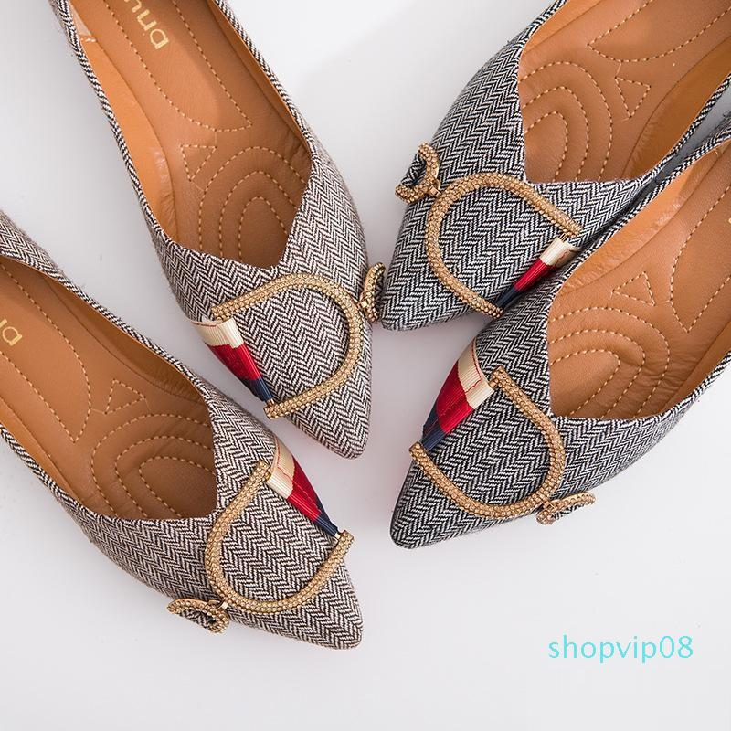 Venta caliente de las mujeres de los holgazanes-Viajes Prom Pisos las mujeres del diseñador deslizadores de las sandalias de lujo del Rhinestone de la hebilla del metal zapatillas de ballet del tamaño grande de Q-160