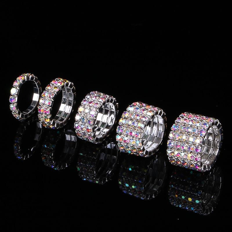 AB Rhinestone cristalino de los anillos de dedo plateado plata y chapados en oro 1-5 filas novia de la boda Anillos elásticos tramo para mujer