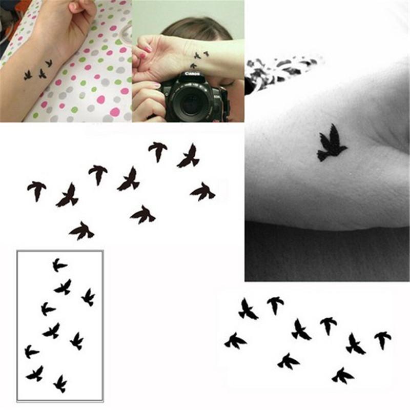 10cm Wrist Tattoo Disposable Tattoo Design Black Birds Women Beauty Cool Girl Body Sticker For Body Art Temporary Bird Tattoos Temporary Heart Tattoos From Heheda2 34 63 Dhgate Com