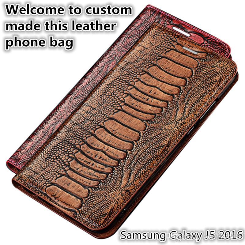 Qx15 devekuşu ayak desen gneuine deri telefonu çanta samsung galaxy j5 2016 için manyetik kılıf kickstand samsung galaxy j5 2016 telefon kılıfı
