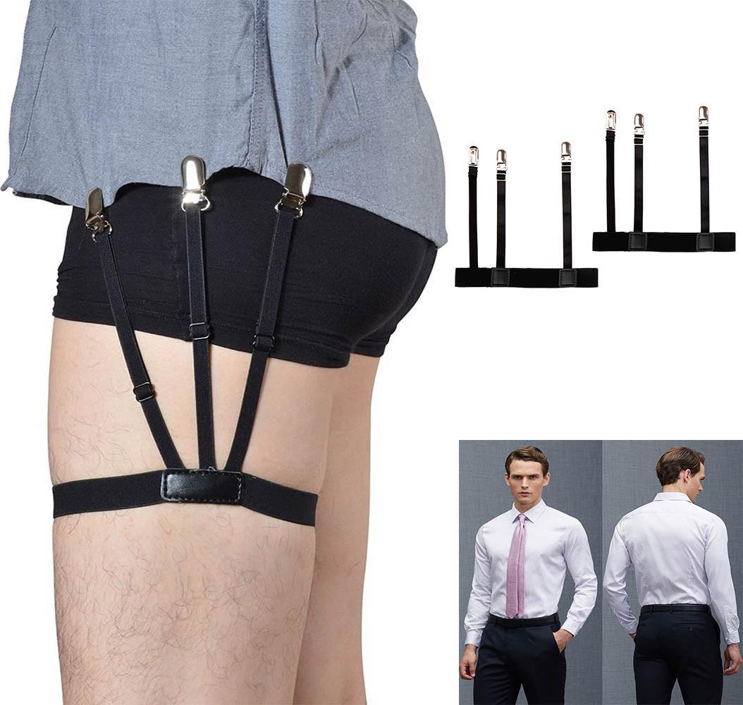 2 pezzi da uomo camicia cintura Soggiorni con antiscivolo clip di chiusura Mantenere camicia infilata la coscia del piedino della bretella giarrettiere Strap