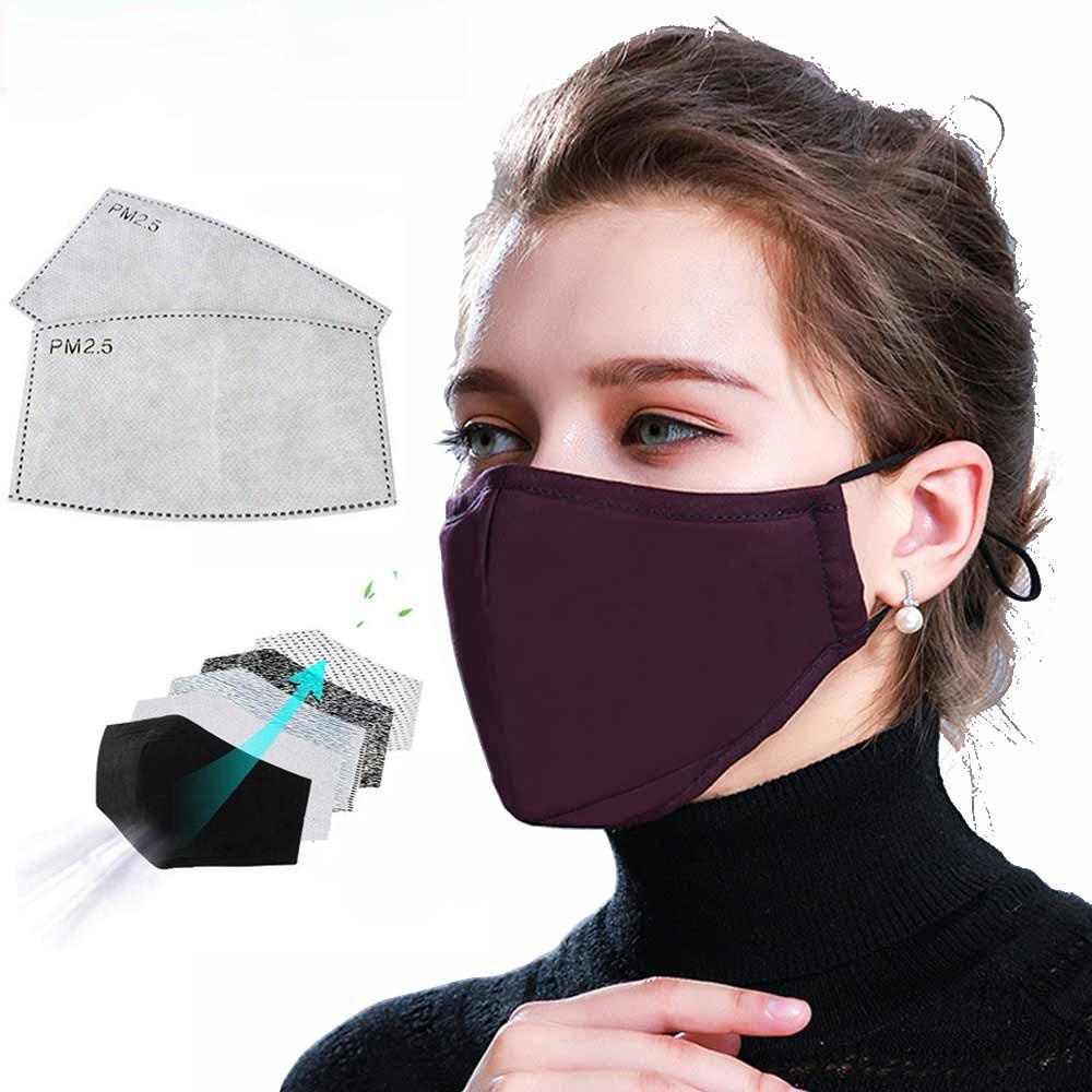 Máscara de algodón PM2.5 Negro Boca anti polvo de cara con filtro de carbón activado a prueba de viento Boca-mufla Hombres Mujeres Negro Moda