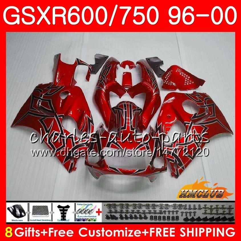 Corpo per SUZUKI GSXR SRAD argento 750 600 GSXR600 GSXR750 Rosso 96 97 98 99 00 1HC.18 GSXR750 GSXR600 1996 1997 1998 1999 2000 carenatura kit