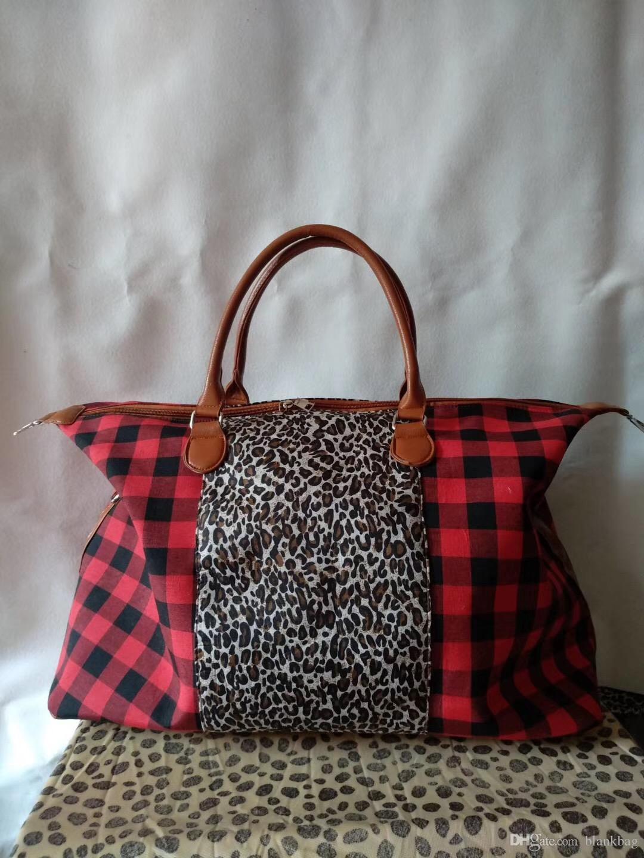 Nouveau carreaux de buffle femmes de mode avec le sac fourre-tout Voyage léopard dame Voyage sac Weekender extra large