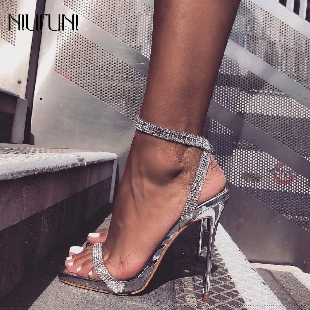 Sandali di cristallo tacchi alti di lusso sexy strass Bling tacco sottile sandali delle donne eleganti scarpe da sposa partito donne cinturino alla caviglia Y19070303
