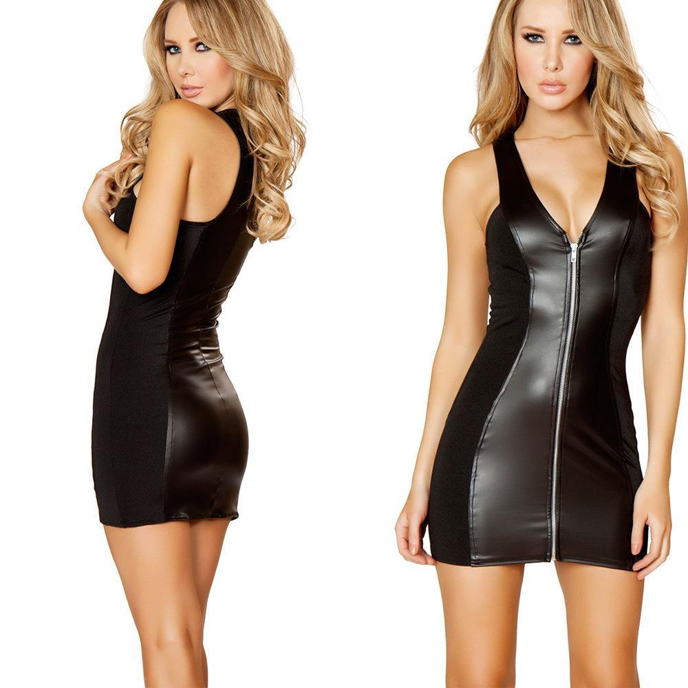Sexy lingeries temptation tight package buttocks Patent leather lingerie sleepwear hollow out hot girl passion lingerie Patent leather dress