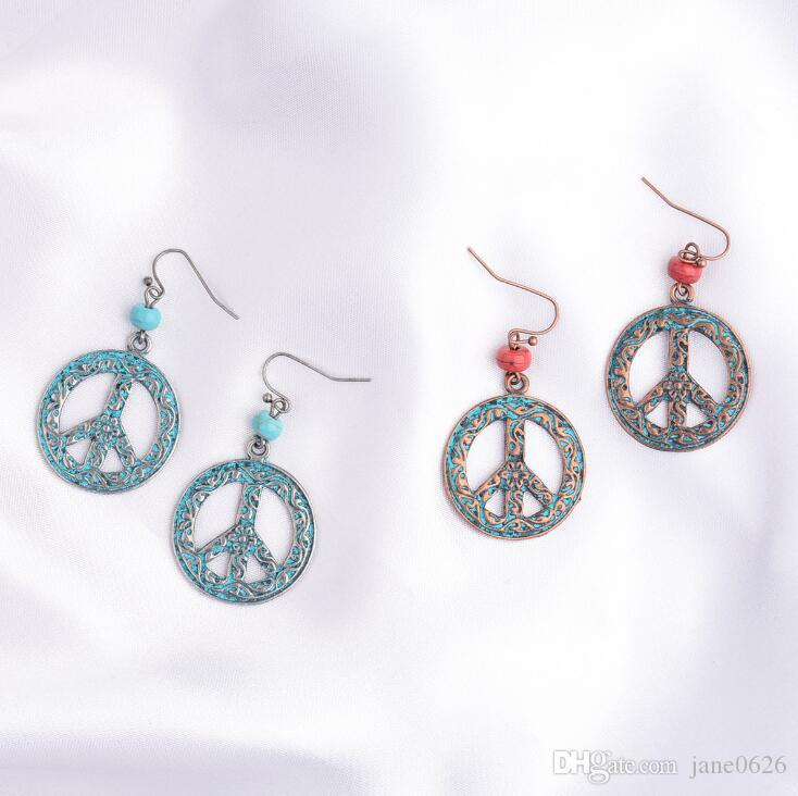 Peace and Anti-war Symbols European and American Foreign Trade Jewelry Personality Small Earrings 2 colors free shipping