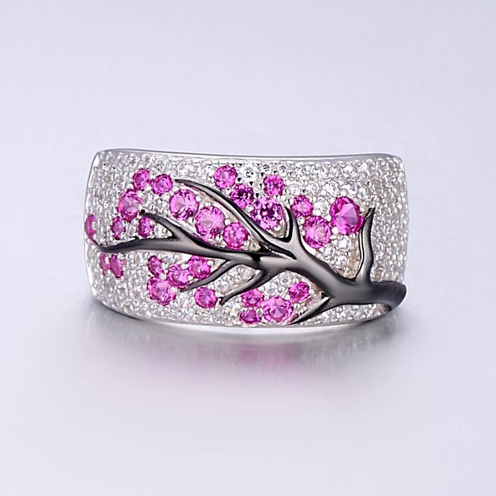 خاتم فضة للنساء مكون من الياقوت الأحجار الكريمة مكعب زركونيا السيدات الدائري 925 فضة حزب الأزياء والمجوهرات