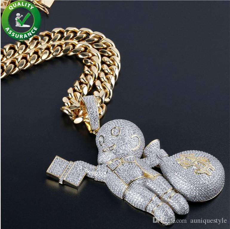 Iced Out Chains Pendant Designer Necklace Hip Hop Jewelry Mens Cuban Link Gold Luxury Diamond Bling CZ Rapper Chain Cartoon Brand Charms
