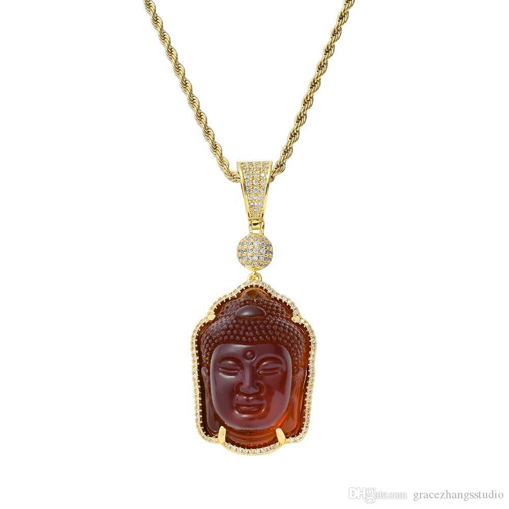hip hop Bouddha statue pendentif colliers pour hommes femmes luxe diamants pendentifs de bouddhisme pendentif en or 18 carats plaqué de cuivre zircons collier cadeau de bijoux