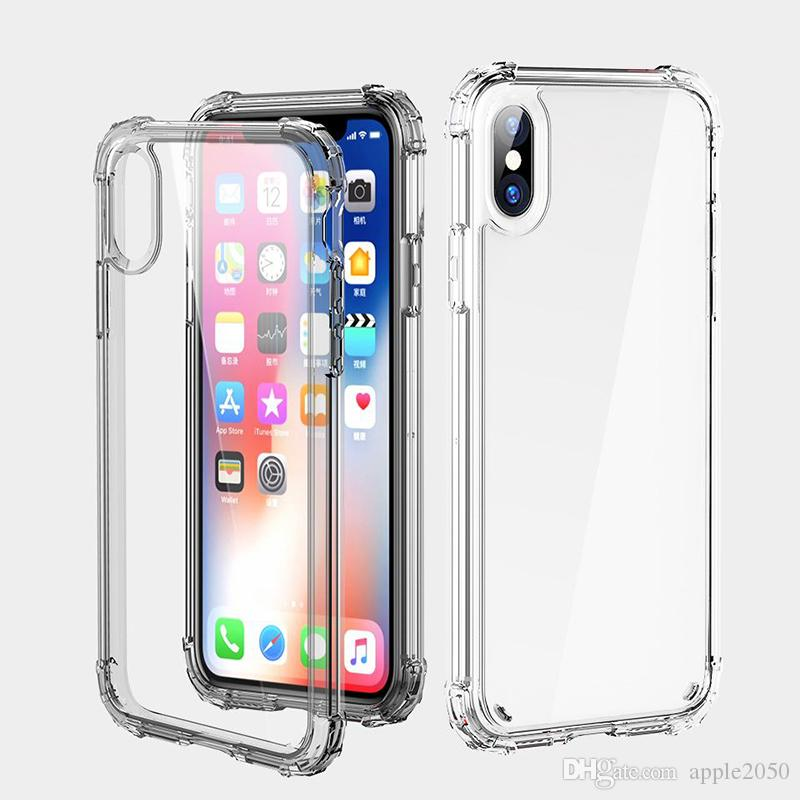 Transparent TPU Phone Case para iPhone11pro 8plus XS Max macia + duro Samsung S20 Shell espessamento Limpar Phone Case Gel quente