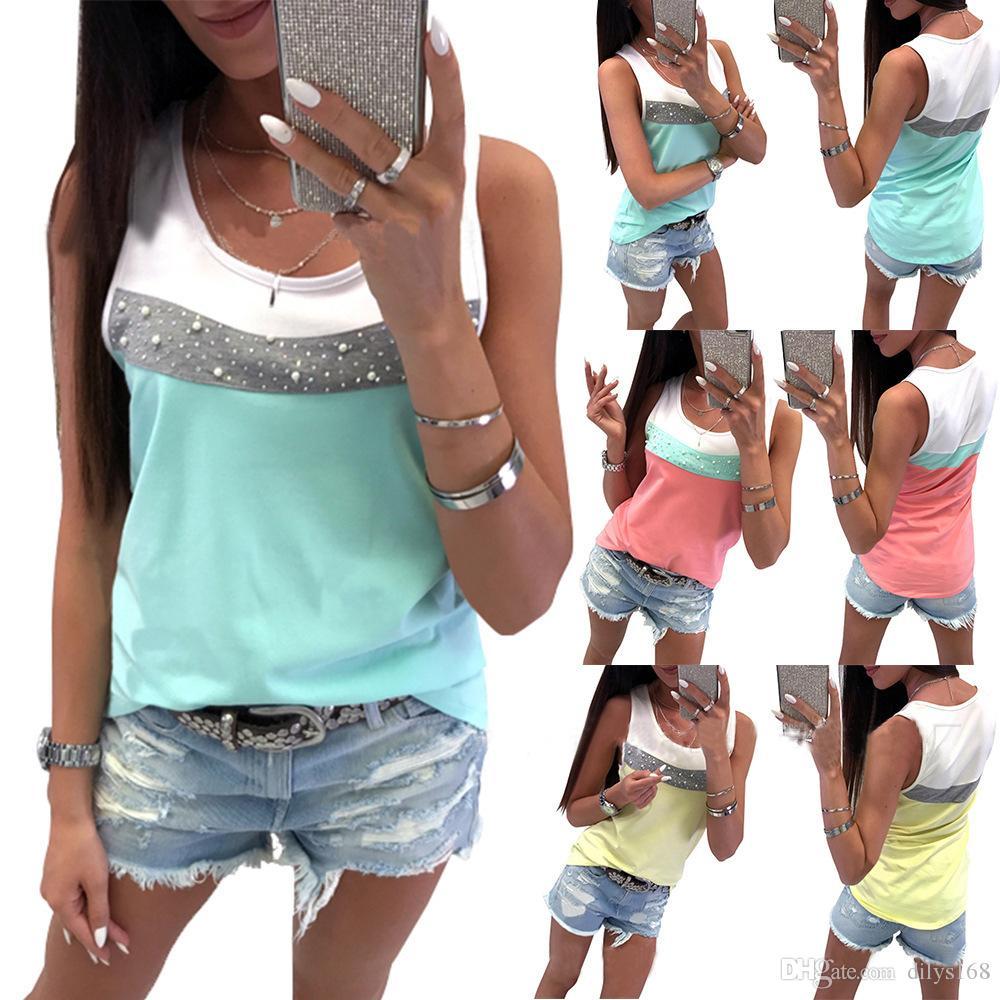 Fashion vêtements de femme Womens Womens Designer T Shirts women clothing Hot drill Bead matching Vest coat T-shirt girl Crop tops