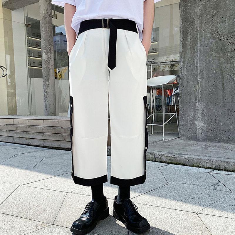 Male Women Streetwear Vintage Fashion Pants Men Half Elastic Waist Casual Pant