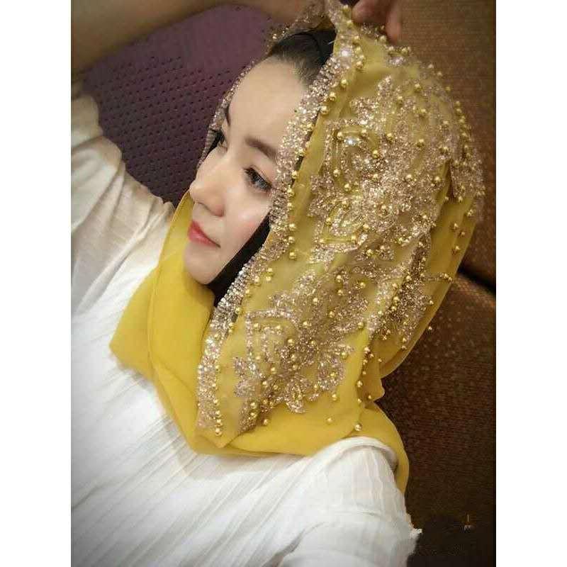 Vêtements ethniques Cuisson africain pour femme Headrap Mousseline de mousseline de soie Perles traditionnelles Écharpe Turban Muslim Islamic 170 * 70
