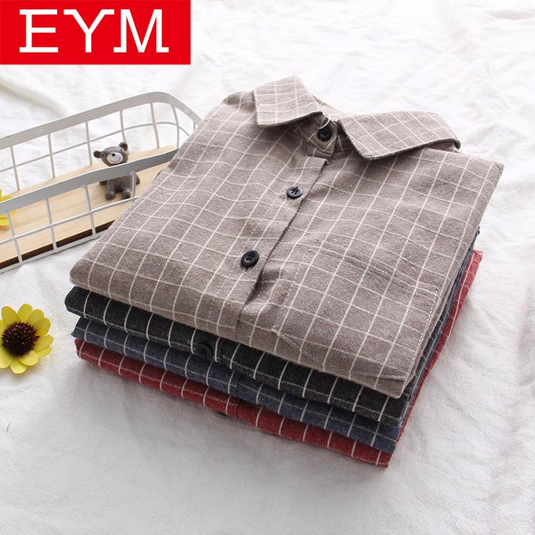 «Ы клетчатую рубашку Одежда Блузки Рубашки EYM 2020 весной новый женский Бренд Хлопок Повседневная Женщины с длинным рукавом Блузки Топы Feminina Офис