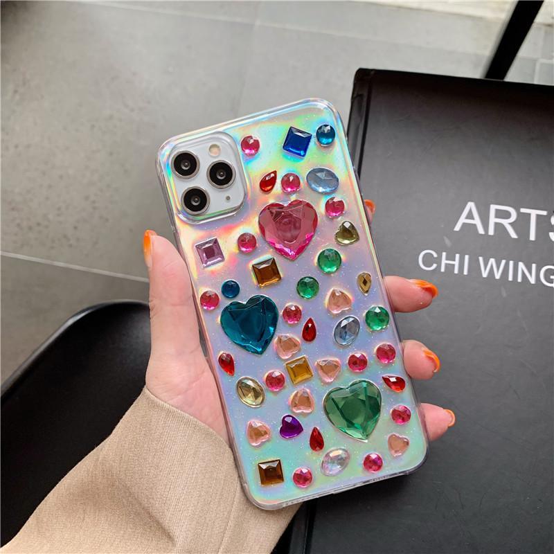 Lazer Taşlı Kalp Şeffaf Şeffaf TPU Cep Telefonu Kılıfı için iphone 11 pro max 7 8 artı x xr