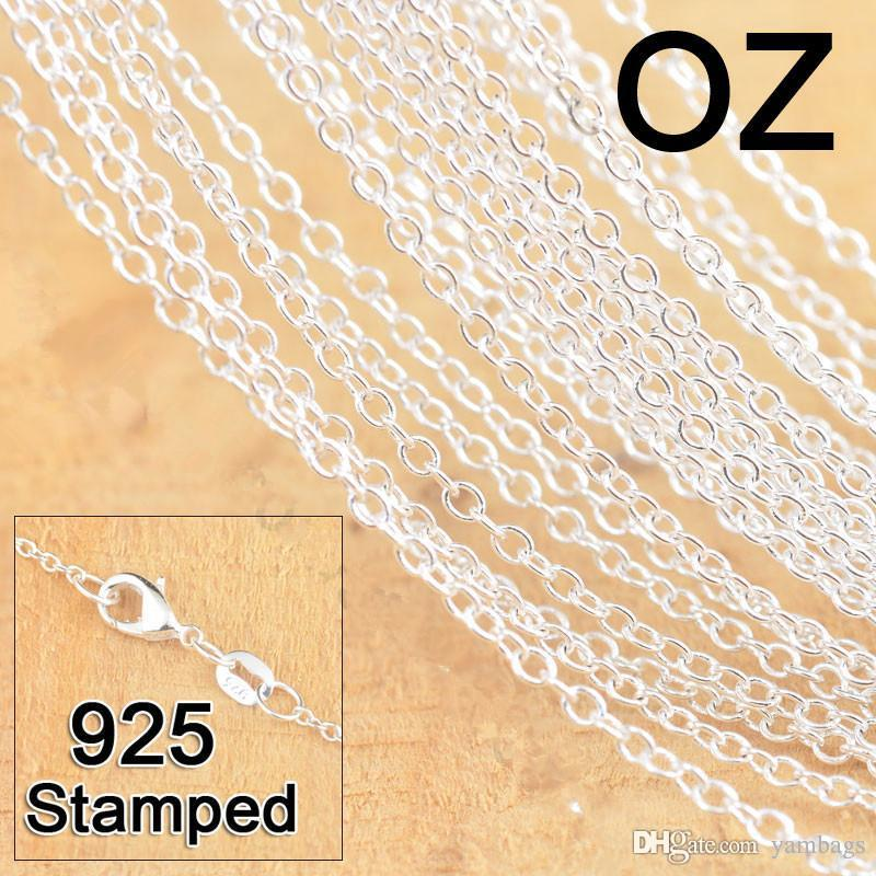 1mm 925 Sterling Silver Chains Jewelry DIY Fashion Women Gifts Link Rolo Chain Necklaces with Lobster Clasps 925 Stamp 16 18 24-30 Inches