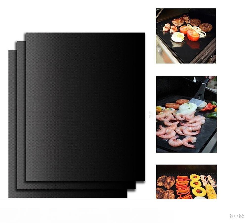 20 50Pcs 바베큐 그릴 라이너 바베큐 그릴 매트 휴대용 스틱 및 재사용 그릴 쉽게 33*40CM0.2MM 검은 오븐 핫 플레이트 매트