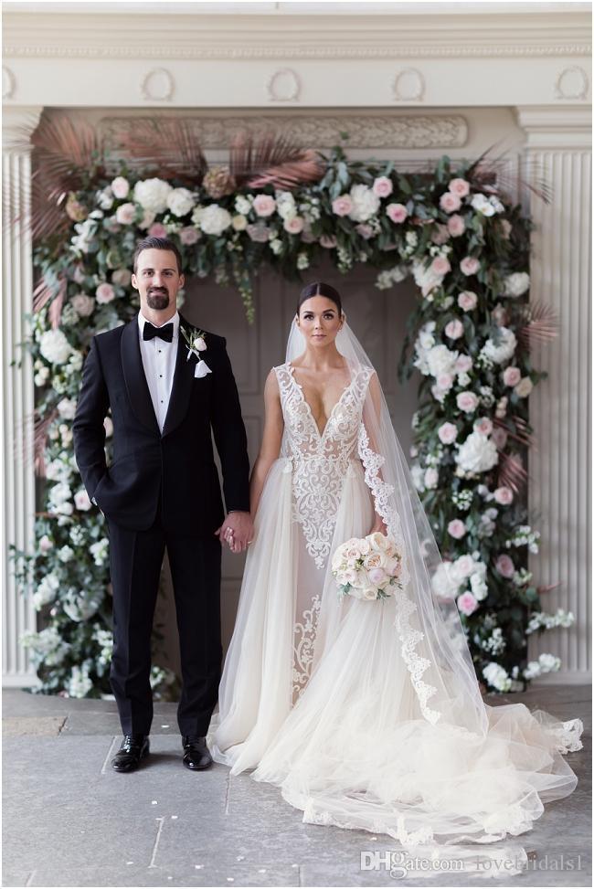 Sheer Robes de Mariée avec Dessus de jupe amovible train 2019 manches col en V Cape manches détachables robe de bal de mariage Ceinture Serre Dresse