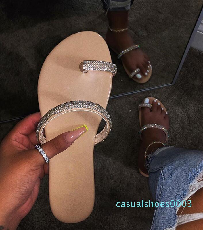 Cristal Flip Flops Verão Chinelos Mulheres sapatos fora das sandálias Plano Sandalias Mujer Femme PU Slides 2020 New Plus Size c03
