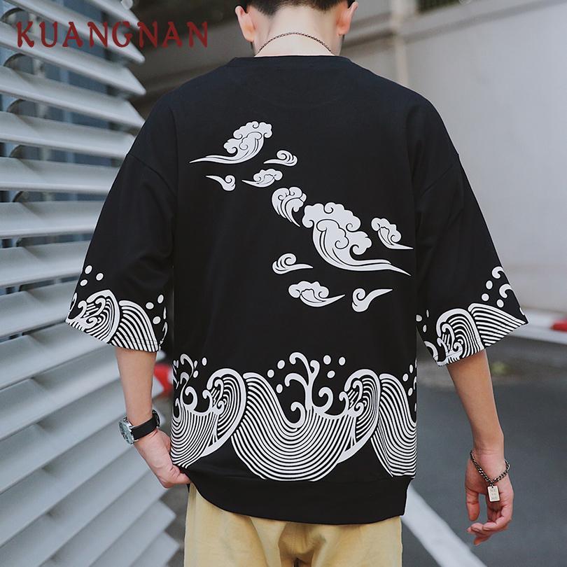 Kuangnan Waves Gedrucktes T-Shirt Herrenmode Harajuku Streetwear Herren T-Shirt Hip Hop Lustige T-Shirts Herren T-Shirt 5xl Sommer 2019 Y19072001