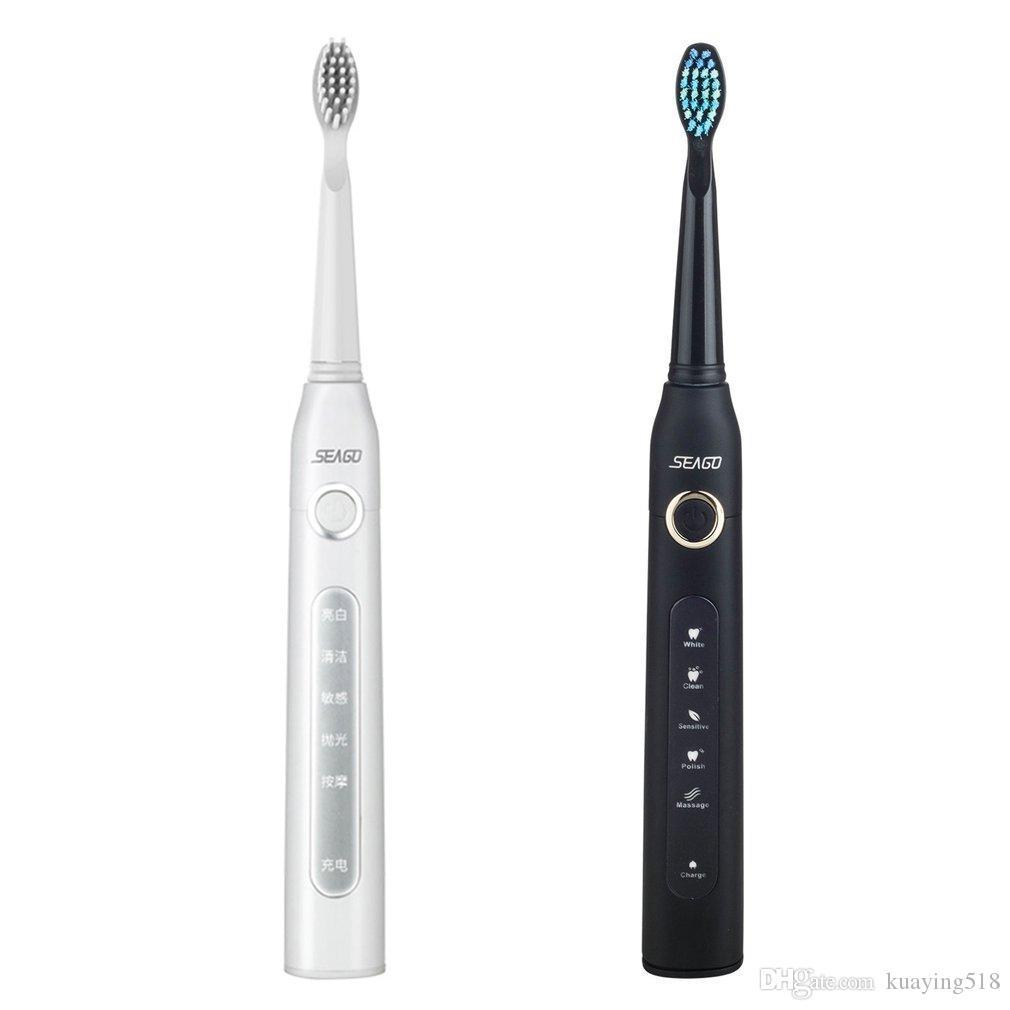 SEAGO SG 507 Elektrische Zahnbürste USB-Ladegerät Wiederaufladbare Schallzahnbürste Wasserdichter Zahnreiniger mit 3 Stück Ersatzkopf