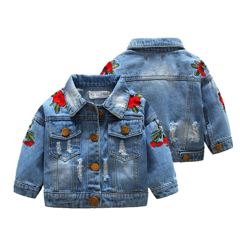 Autumn bebê Casacos Meninas Denim Jacket Brasão Crianças Rose bordado jaqueta casaco de moda Casacos Crianças Roupa para meninas