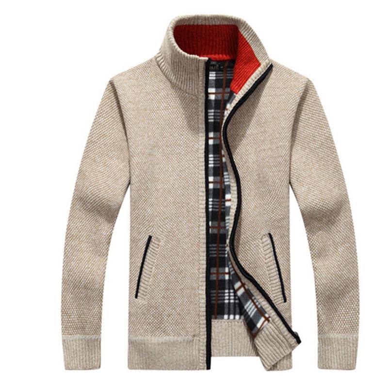 Yeni 4XL 5XL Erkek Fleece Sweate Sonbahar Kış Sıcak Kaşmir İnce Yağ Yün Fermuar Casual Süveter erkekler Örme Coat Af1383 T200506