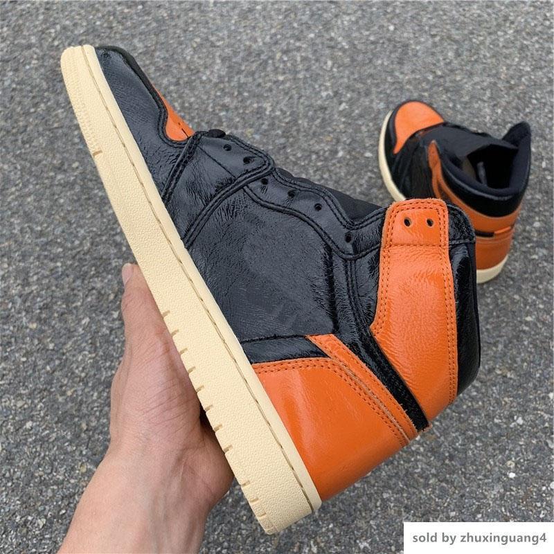 2019 1 3 0 555088 028 recente ENCOSTO QUEBRADO autêntica. 55588-28 Shoes Preto Laranja basquete para Man Sports Sneakers Original