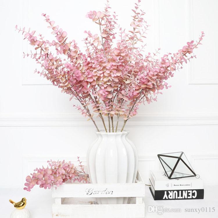 Yeni Yüksek Kaliteli Yapay Çiçek pembe Okaliptüs Yapraklar Sulu Salon Ev Dekorasyon Plastik Gerçek Dokunmatik Düğün Dekorasyon Bitkiler
