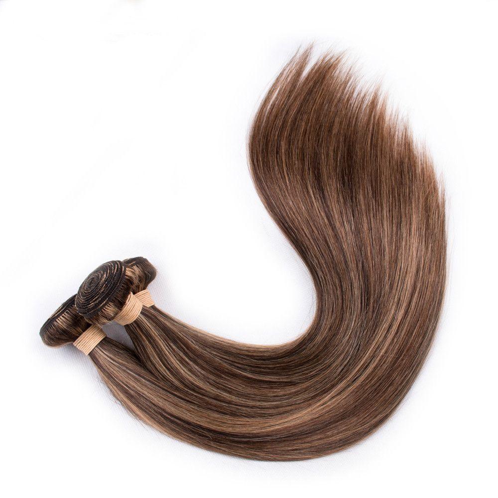 #4/27 Piano Mixed Color Straight Human Hair Bundles 3Pcs Brown Highlight Mix Honey Blonde Piano Color Peruvian Human Hair Weaves Extensions