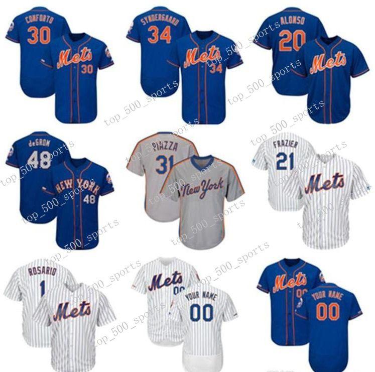 사용자 정의 망 jersey 20 피트 alonso 30 마이클 conforto 34 노아 syndergaard 21 Todd Frazier 니트 야구 유니폼
