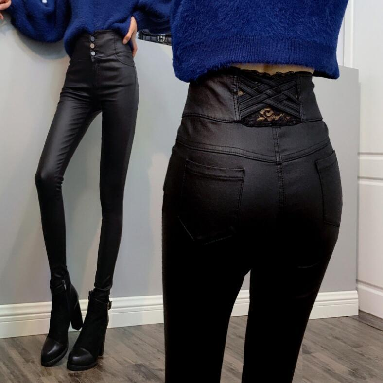 2019 Yeni Yüksek Kalite Kadınlar Deri Pantolon Bayan Wear Artı Kadife Tayt Sonbahar Ve Kış Yüksek Bel İnce Kaplama PU sıkı ayaklar pantolon oldu