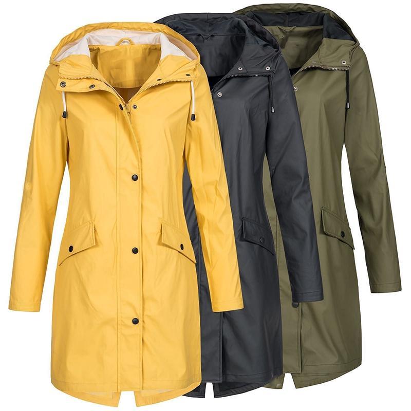 كم معطف على الموضة للنساء طويل مقنع معطف واق من المطر سترة واقية التنزه السيدات عارضة لون الصلبة في الهواء الطلق خندق ماء