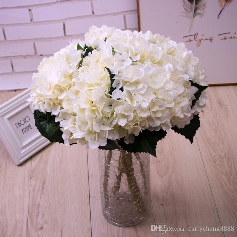2020 Artificial Silk Hydrangea Big Flower 7 5 Fake White Wedding