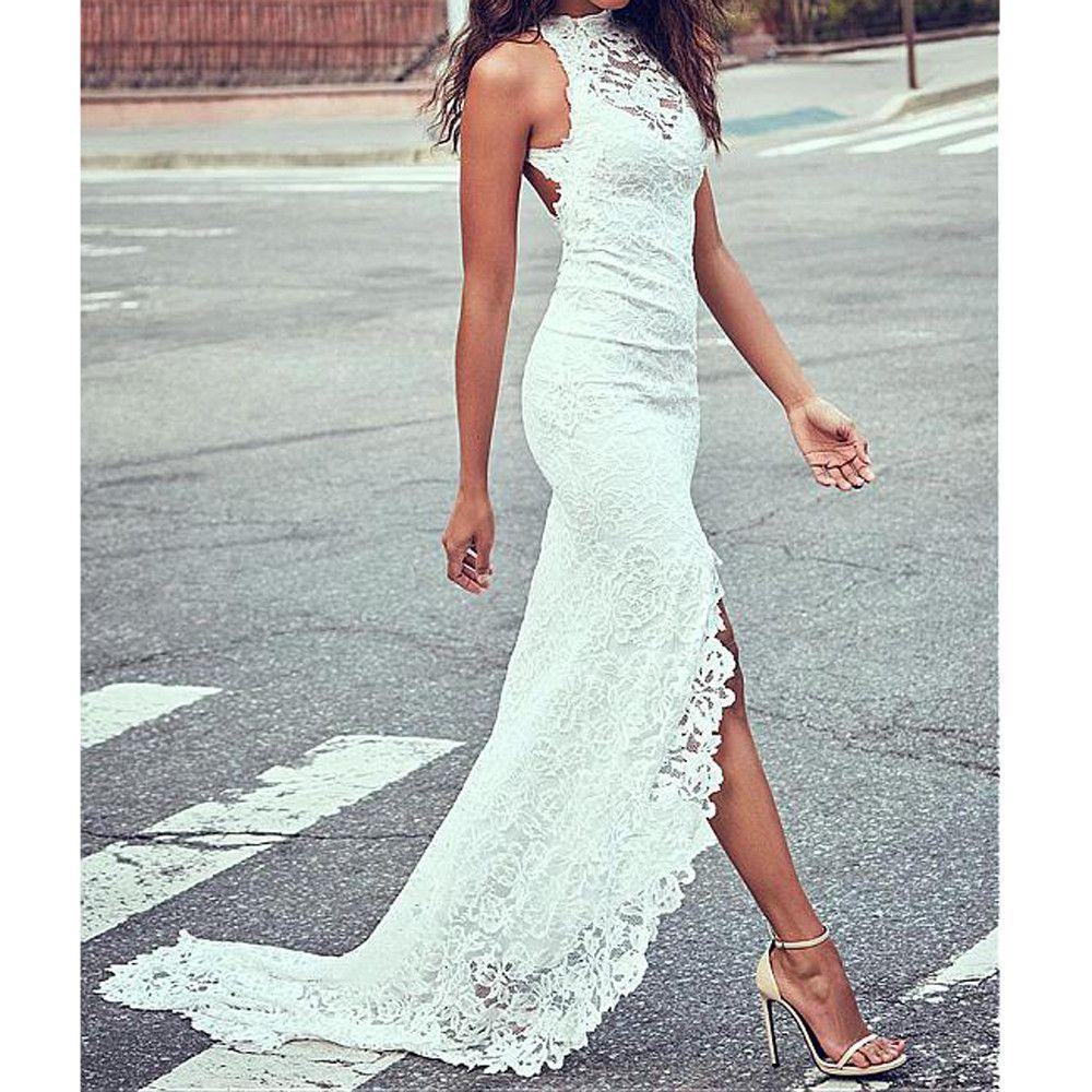 Großhandel Weißes Kleid 19 Frauen Sexy Oansatz Spitze Feste Hülse Zurück  Hohl Lange Party Elegantes Kleid Vestido Von Beimu, 19,19 € Auf