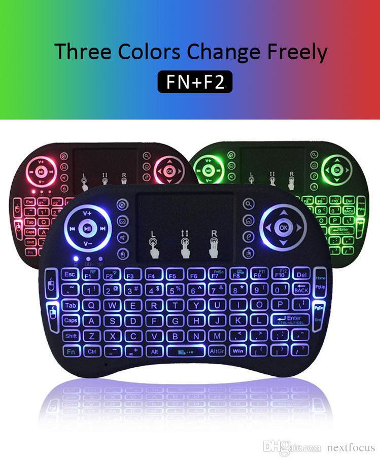 2020 RII I8 لوحة المفاتيح للتحكم عن بعد ماوس كومبو 3 ألوان الخلفية LED 2.4GHZ لوحة اللمس لوحة المفاتيح للWIFI بلوتوث S905W S912 الروبوت TV BOX