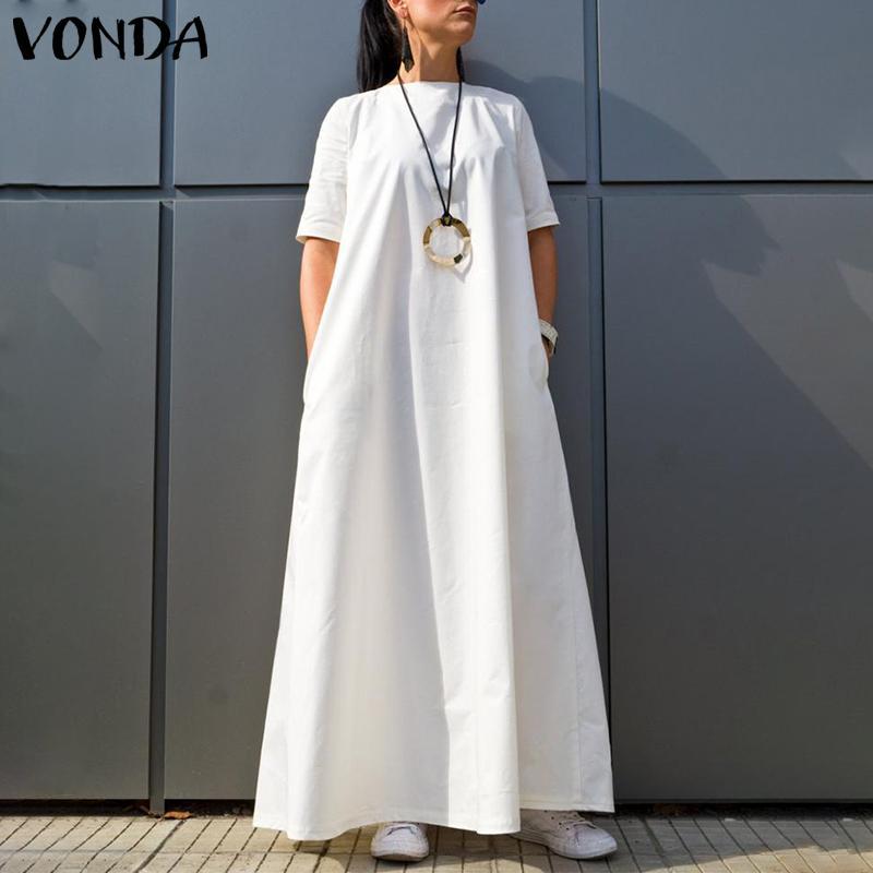 VONDA femmes Robe 2020 Casual O cou à manches courtes couleur unie Vintage Kaftan Maxi robes Plus Size Holiday Beach Sundresses 5XL MX200518