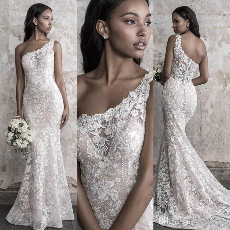 매디슨 제임스는 2019 인어 웨딩 드레스 우아한 한 어깨 레이스 새해가 기차 신부 드레스의 부유층 맞춤 제작 스윕 가을