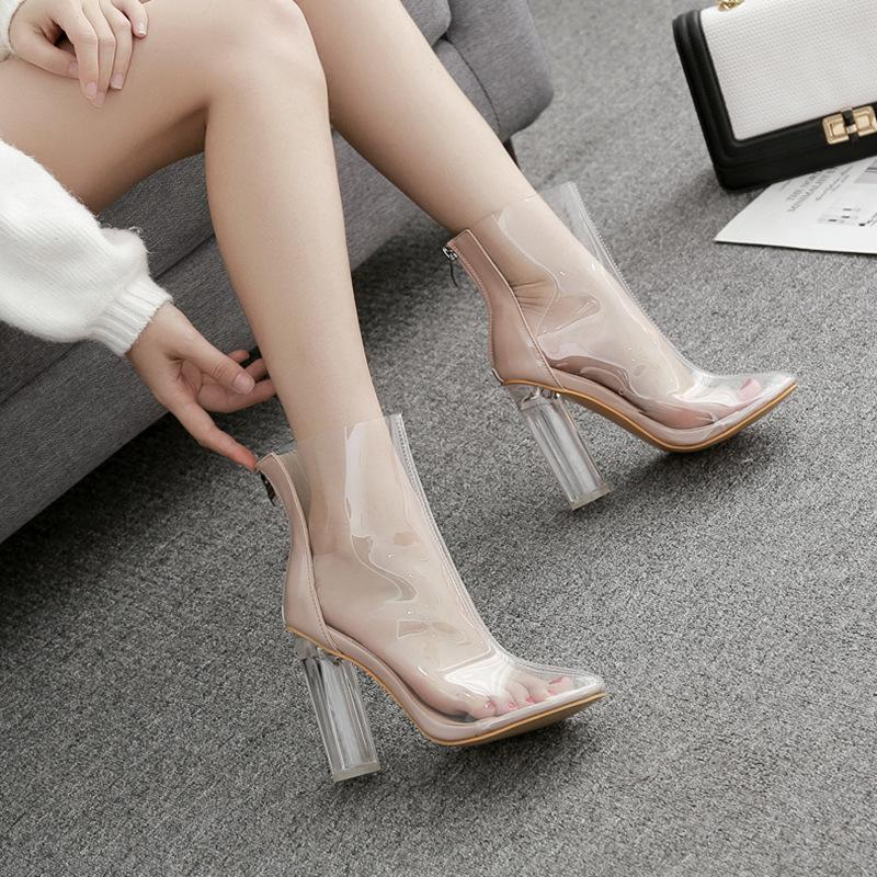 New transparent designer chunky high heels shoes fashion pointed toe summer pumps lady dress shoes large size 35-42