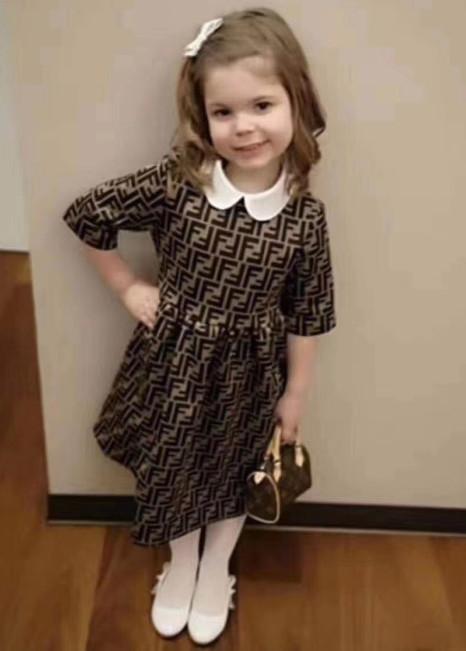 Neue Herbst-Baby-Mädchen kurze Hülsen-Kleid-Sommer-Baumwolle Kinder beschriften Rock Kinderkleidung Tops