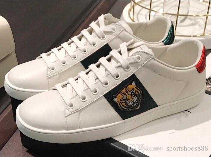 2020 cuir véritable Ace Chaussures Mocassins Fashion Designer Marque de luxe Hommes Femmes Low Blanc Noir broderie Cut Tiger Head Casual Shoes