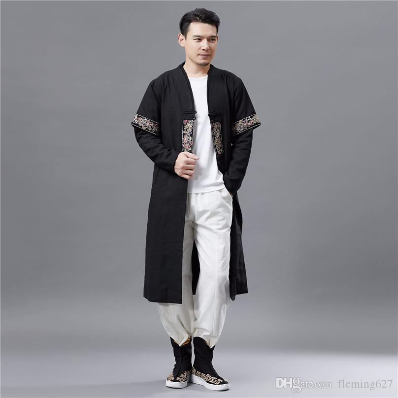 2019 Spring Autumn New Double Collar Long Sleeve T-shirt Men's Retro Fashion Long-style Chinese National Clothing Classic Design