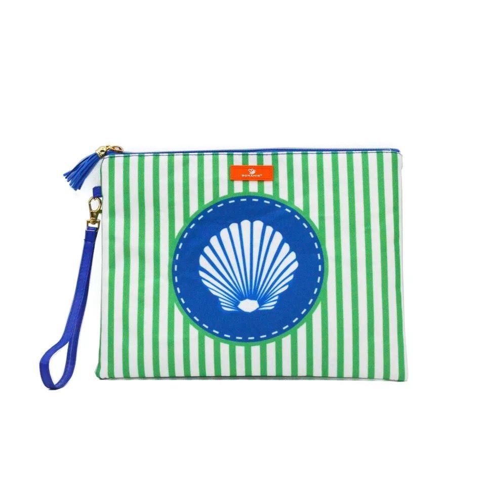 Stripe Tassel Waterproof Beach Bag Shell Design Women Stripe Tassel Wristlet bag Clutch Bag Leather Female Coin Purse Wallet