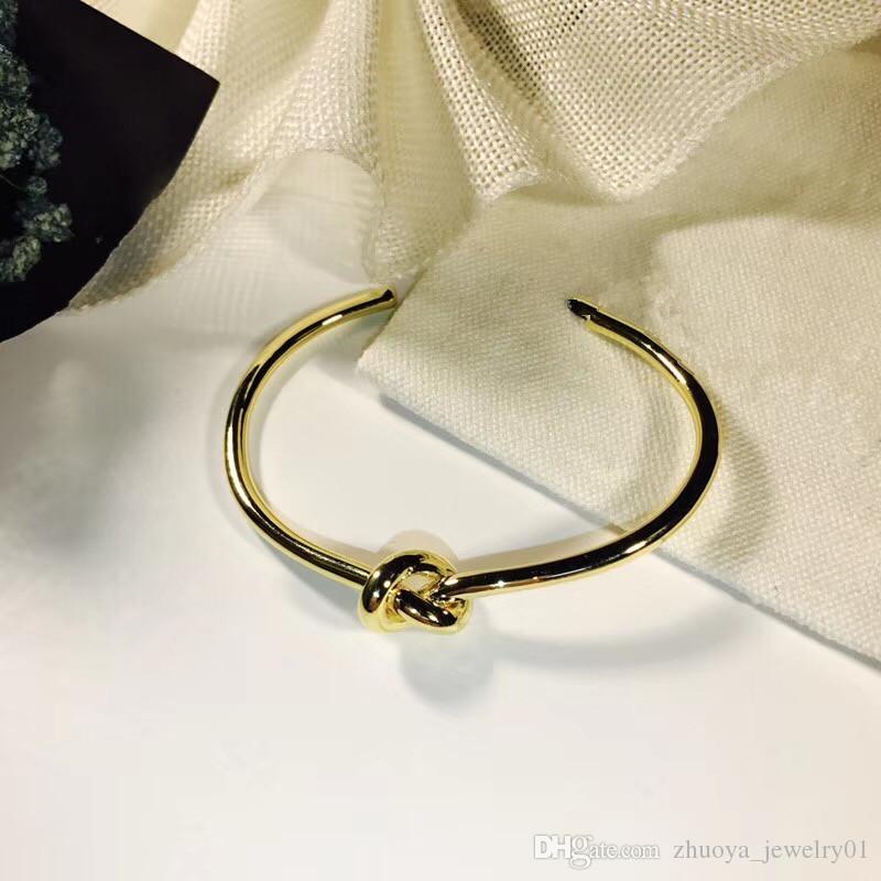 stainless steel knotted bracelet men and women friendship bracelet silver rose gold open C shaped bracelet jewelry Luxury designer bangle