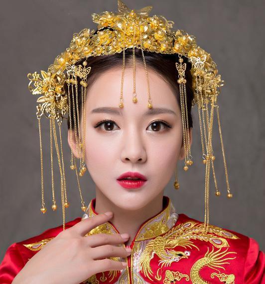 Chinesische Brauthaar-Zusätze Phoenix Crown Hochzeit Kostüm Kopfbedeckung Set A-31
