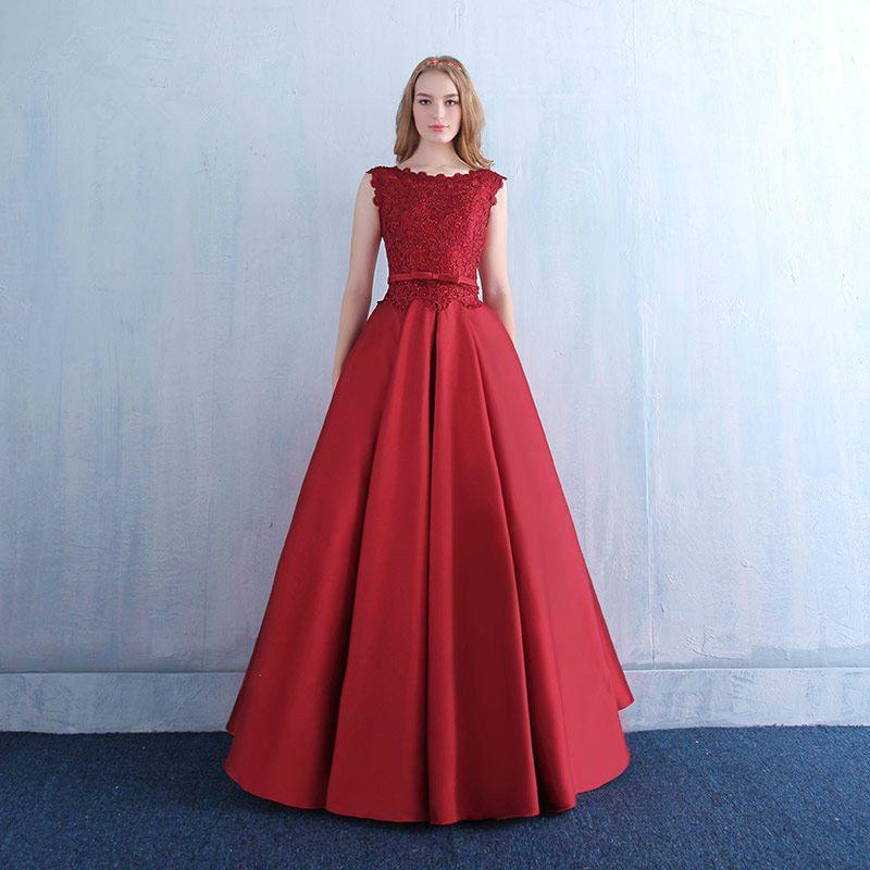 레이스 아플리케와 포켓 특종 목 새틴 이브닝 드레스 2020 레드 부르고뉴 층 길이 이브닝 가운